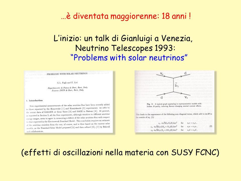 …è diventata maggiorenne: 18 anni ! Linizio: un talk di Gianluigi a Venezia, Neutrino Telescopes 1993: Problems with solar neutrinos (effetti di oscil