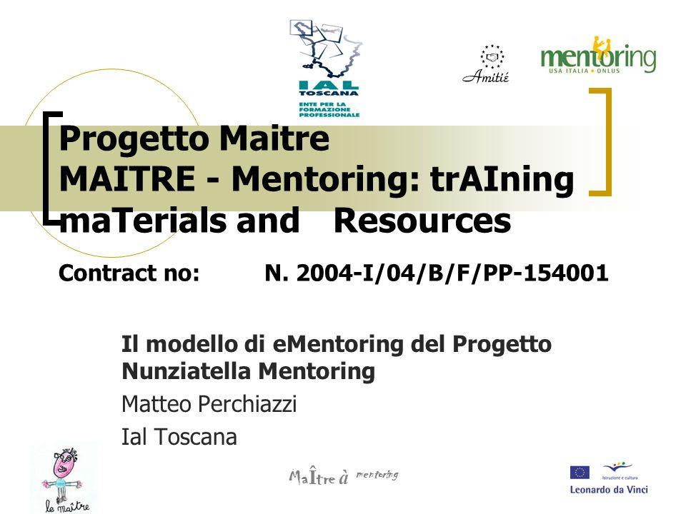 Progetto Maitre MAITRE - Mentoring: trAIning maTerials and Resources Contract no:N. 2004-I/04/B/F/PP-154001 Il modello di eMentoring del Progetto Nunz