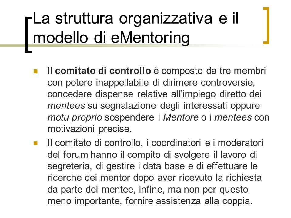 La struttura organizzativa e il modello di eMentoring Il comitato di controllo è composto da tre membri con potere inappellabile di dirimere controver