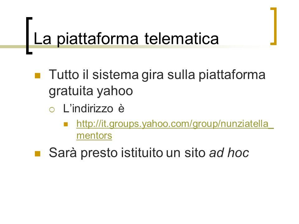 La piattaforma telematica Tutto il sistema gira sulla piattaforma gratuita yahoo Lindirizzo è http://it.groups.yahoo.com/group/nunziatella_ mentors ht