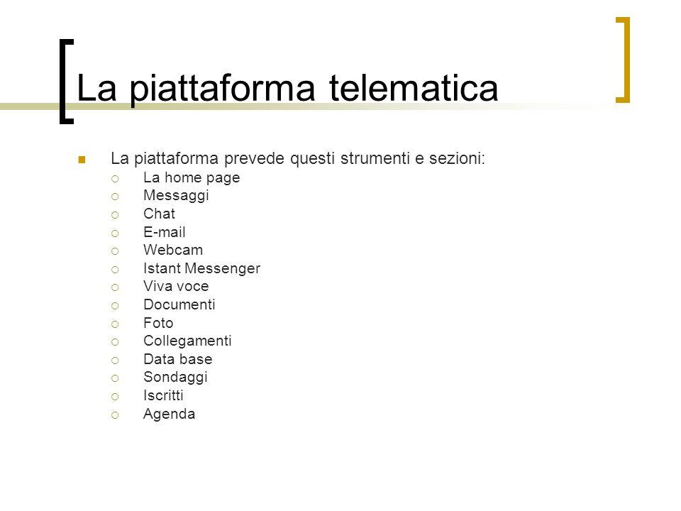 La piattaforma telematica La piattaforma prevede questi strumenti e sezioni: La home page Messaggi Chat E-mail Webcam Istant Messenger Viva voce Docum