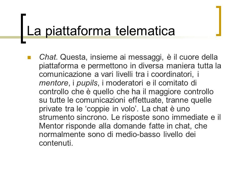 La piattaforma telematica Chat. Questa, insieme ai messaggi, è il cuore della piattaforma e permettono in diversa maniera tutta la comunicazione a var
