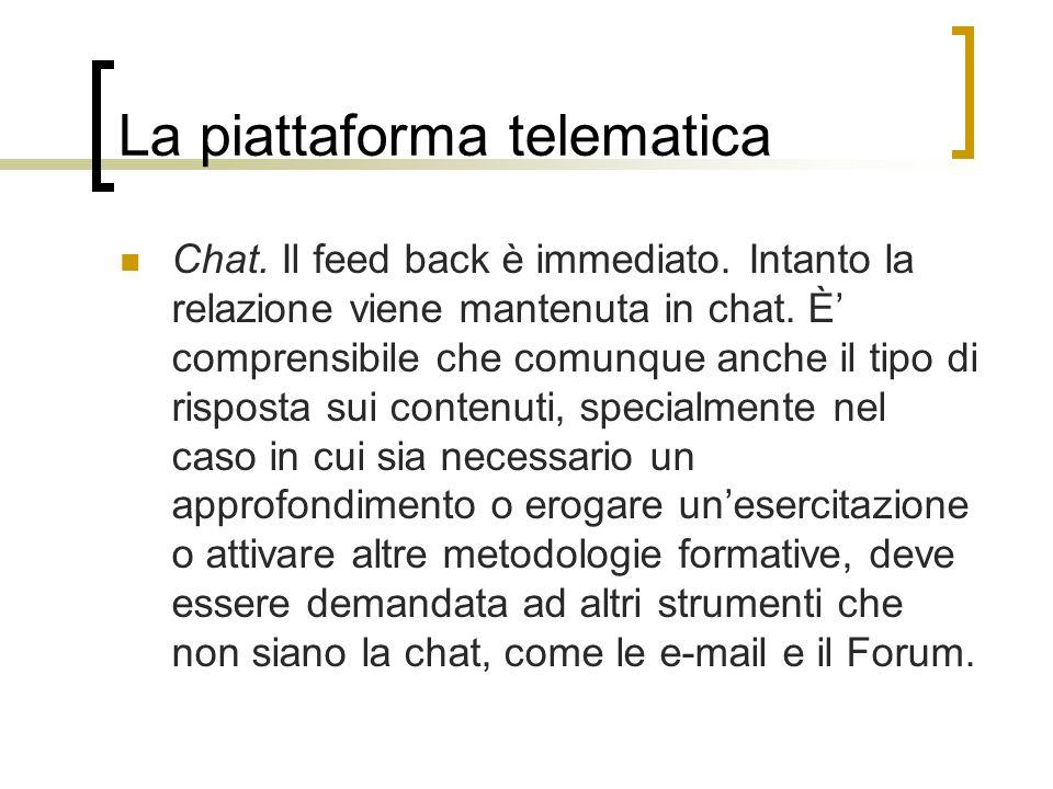 La piattaforma telematica Chat. Il feed back è immediato. Intanto la relazione viene mantenuta in chat. È comprensibile che comunque anche il tipo di