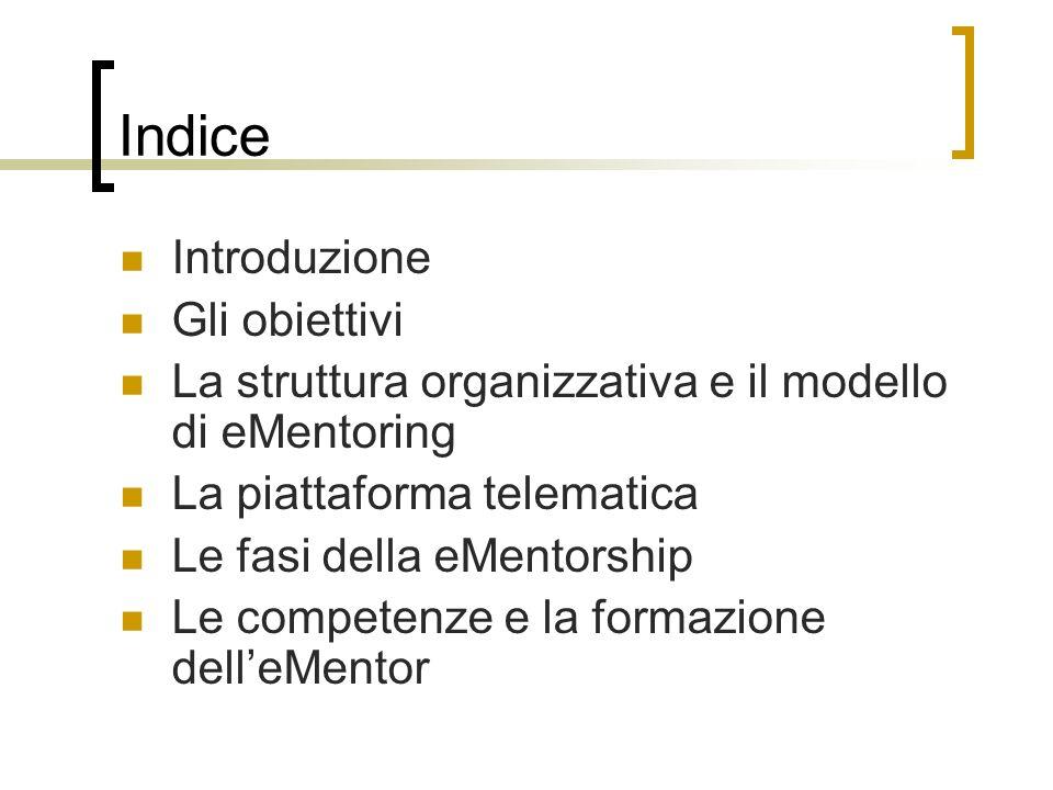 Indice Introduzione Gli obiettivi La struttura organizzativa e il modello di eMentoring La piattaforma telematica Le fasi della eMentorship Le compete