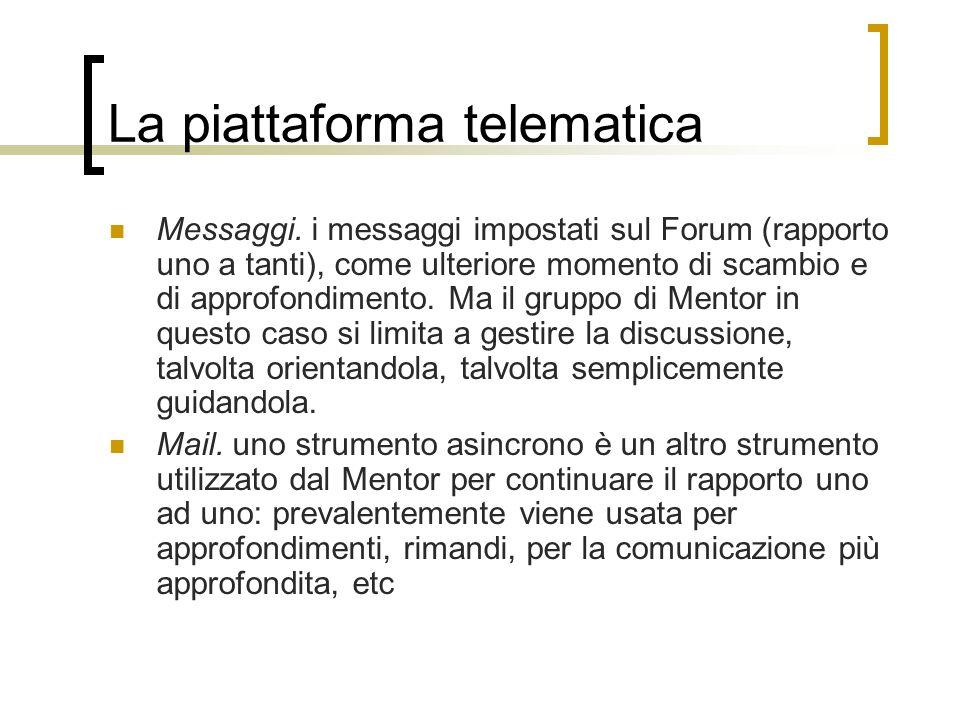 La piattaforma telematica Messaggi. i messaggi impostati sul Forum (rapporto uno a tanti), come ulteriore momento di scambio e di approfondimento. Ma