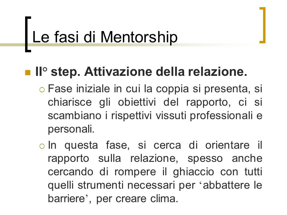 Le fasi di Mentorship II° step. Attivazione della relazione. Fase iniziale in cui la coppia si presenta, si chiarisce gli obiettivi del rapporto, ci s