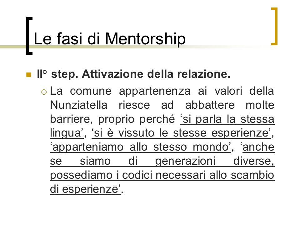 Le fasi di Mentorship II° step. Attivazione della relazione. La comune appartenenza ai valori della Nunziatella riesce ad abbattere molte barriere, pr