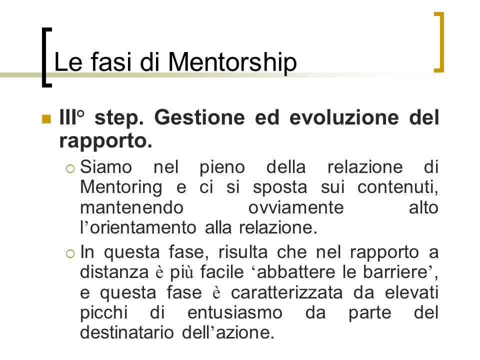 Le fasi di Mentorship III° step. Gestione ed evoluzione del rapporto. Siamo nel pieno della relazione di Mentoring e ci si sposta sui contenuti, mante