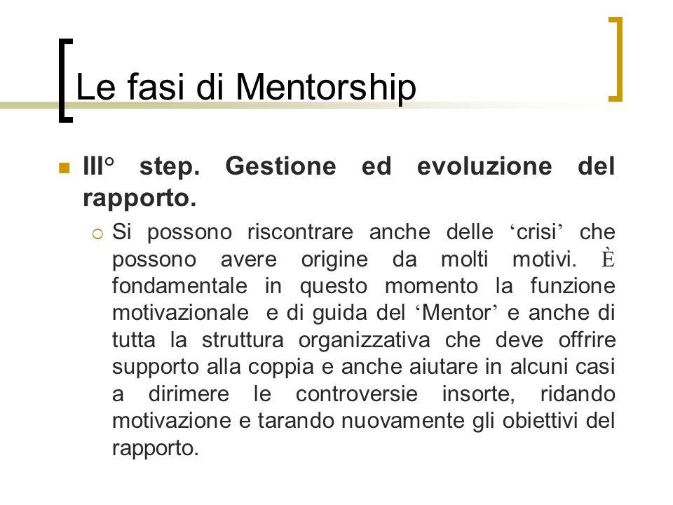 Le fasi di Mentorship III° step. Gestione ed evoluzione del rapporto. Si possono riscontrare anche delle crisi che possono avere origine da molti moti