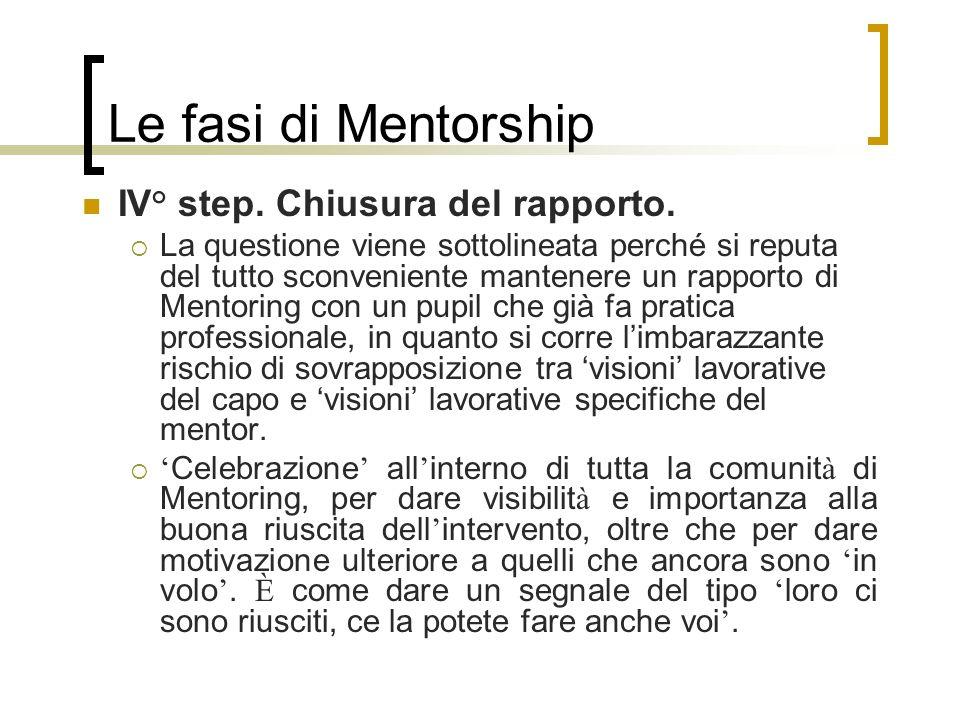 Le fasi di Mentorship IV° step. Chiusura del rapporto. La questione viene sottolineata perché si reputa del tutto sconveniente mantenere un rapporto d