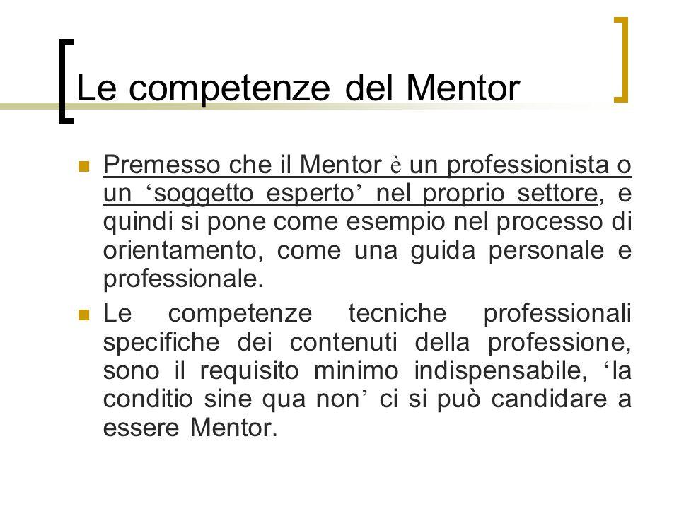 Le competenze del Mentor Premesso che il Mentor è un professionista o un soggetto esperto nel proprio settore, e quindi si pone come esempio nel proce