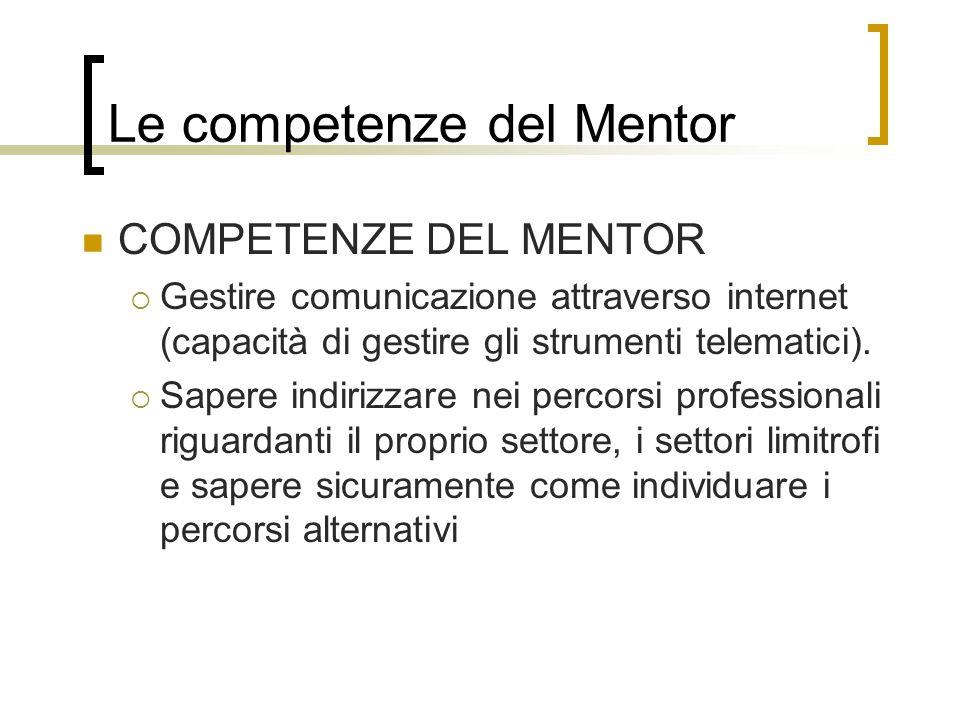 Le competenze del Mentor COMPETENZE DEL MENTOR Gestire comunicazione attraverso internet (capacità di gestire gli strumenti telematici). Sapere indiri
