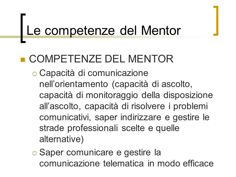 Le competenze del Mentor COMPETENZE DEL MENTOR Capacità di comunicazione nellorientamento (capacità di ascolto, capacità di monitoraggio della disposi
