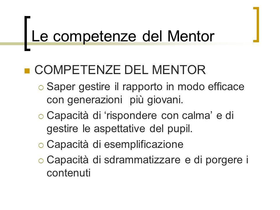 Le competenze del Mentor COMPETENZE DEL MENTOR Saper gestire il rapporto in modo efficace con generazioni più giovani. Capacità di rispondere con calm