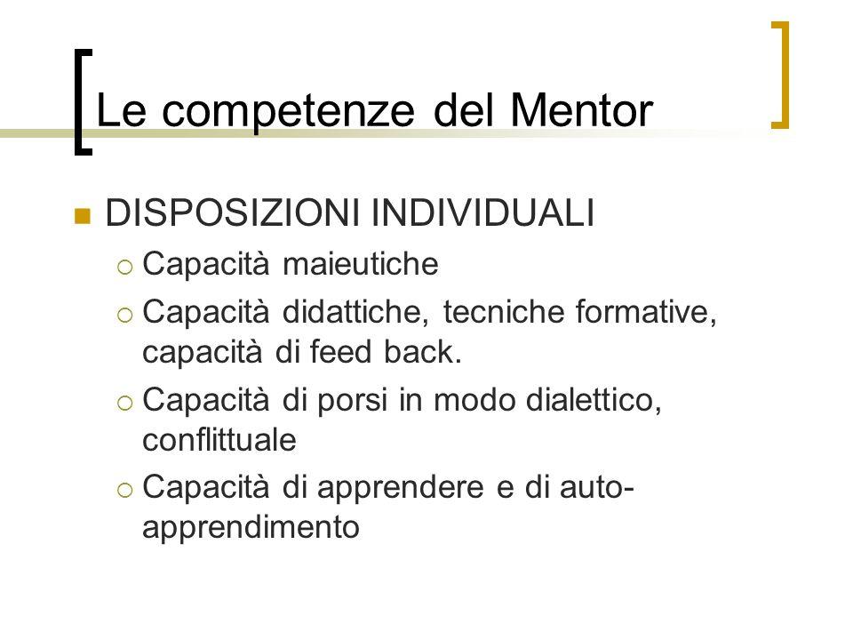 Le competenze del Mentor DISPOSIZIONI INDIVIDUALI Capacità maieutiche Capacità didattiche, tecniche formative, capacità di feed back. Capacità di pors