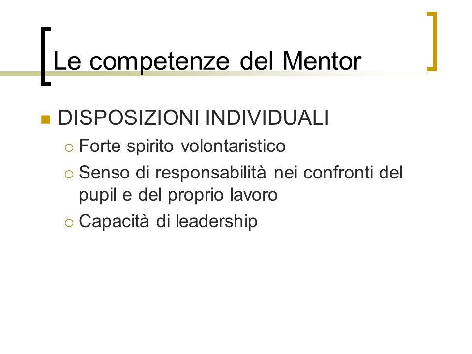 Le competenze del Mentor DISPOSIZIONI INDIVIDUALI Forte spirito volontaristico Senso di responsabilità nei confronti del pupil e del proprio lavoro Ca