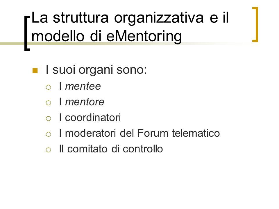 La struttura organizzativa e il modello di eMentoring I suoi organi sono: I mentee I mentore I coordinatori I moderatori del Forum telematico Il comit