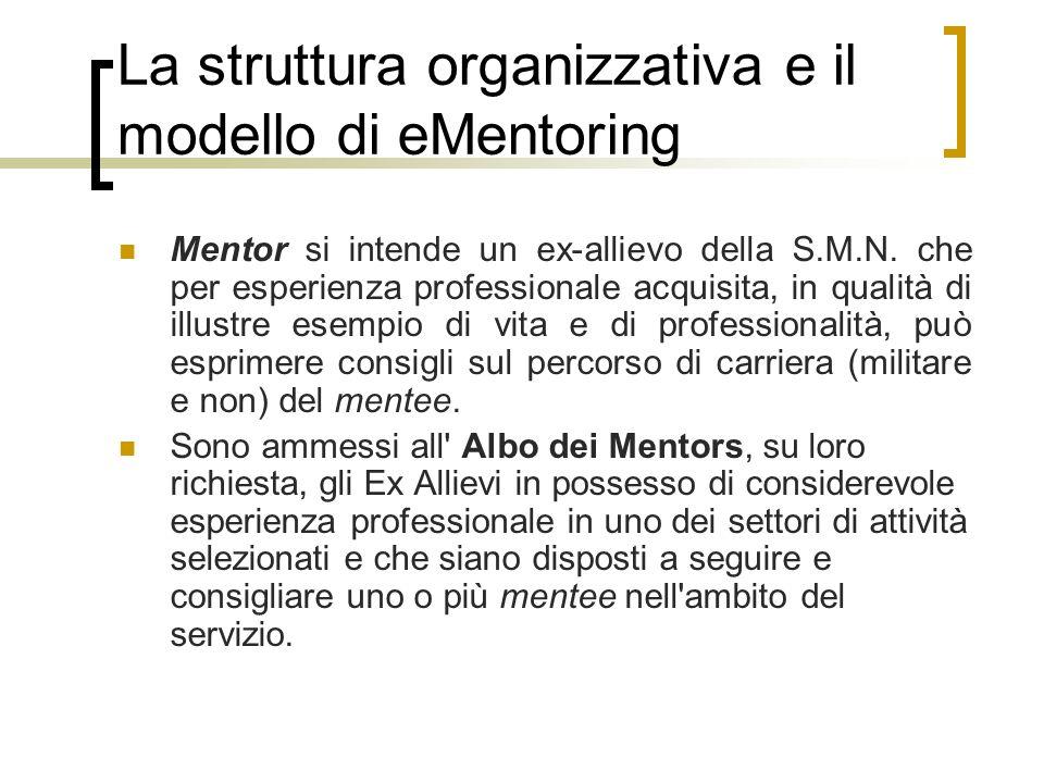 La struttura organizzativa e il modello di eMentoring Mentor si intende un ex-allievo della S.M.N. che per esperienza professionale acquisita, in qual