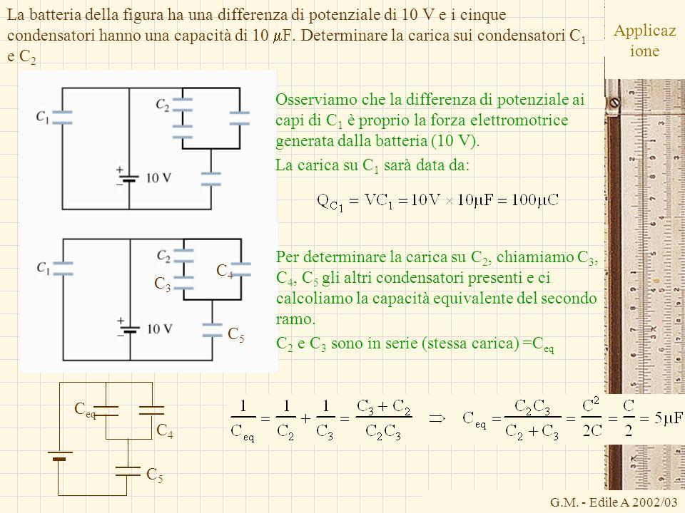 G.M. - Edile A 2002/03 Applicaz ione La batteria della figura ha una differenza di potenziale di 10 V e i cinque condensatori hanno una capacità di 10