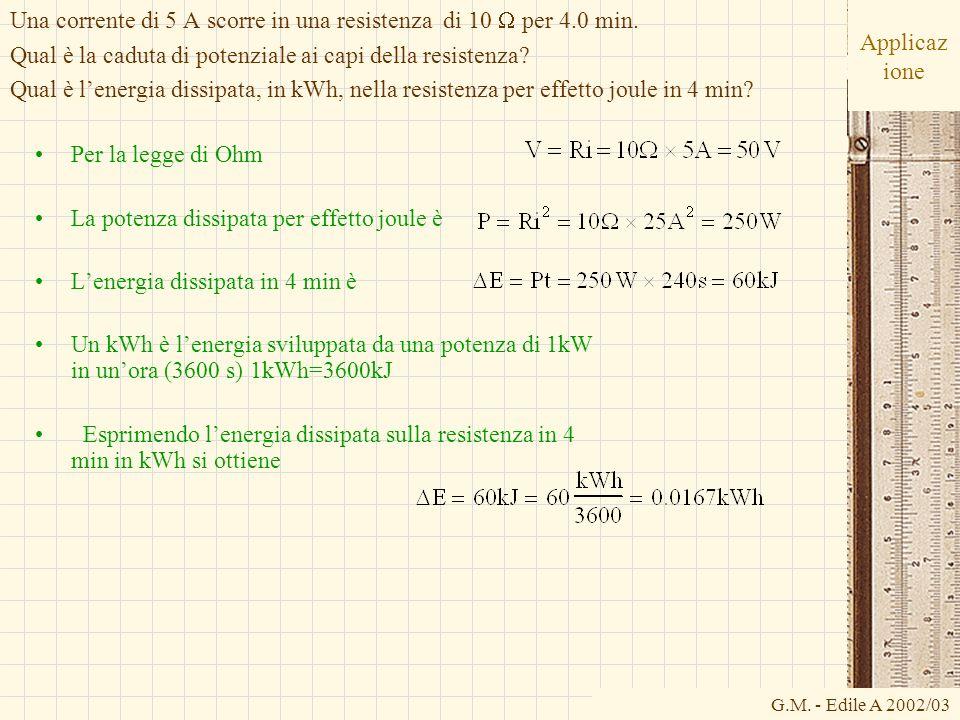 G.M. - Edile A 2002/03 Applicaz ione Per la legge di Ohm La potenza dissipata per effetto joule è Lenergia dissipata in 4 min è Un kWh è lenergia svil