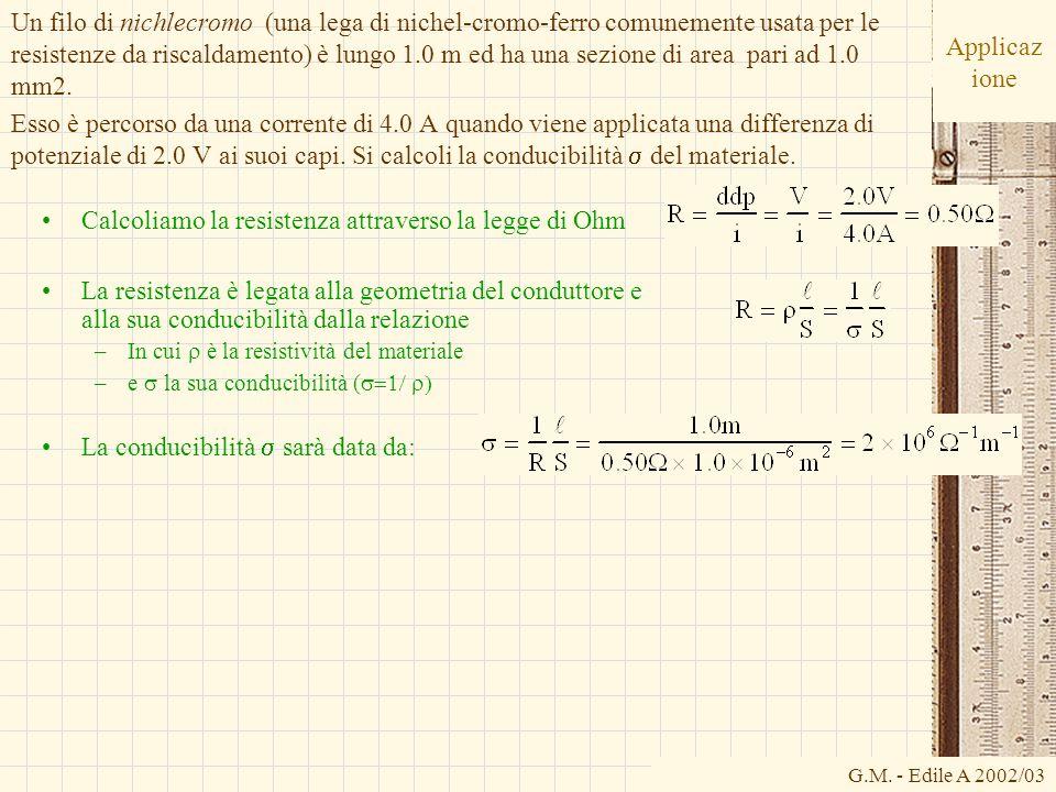 G.M. - Edile A 2002/03 Applicaz ione Calcoliamo la resistenza attraverso la legge di Ohm La resistenza è legata alla geometria del conduttore e alla s