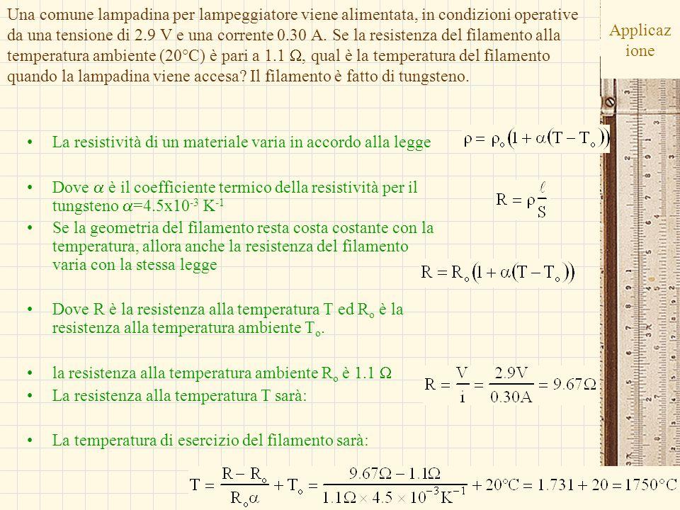 G.M. - Edile A 2002/03 Applicaz ione La resistività di un materiale varia in accordo alla legge Dove è il coefficiente termico della resistività per i