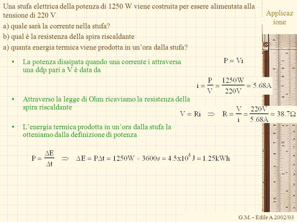 G.M. - Edile A 2002/03 Applicaz ione La potenza dissipata quando una corrente i attraversa una ddp pari a V è data da Attraverso la legge di Ohm ricav
