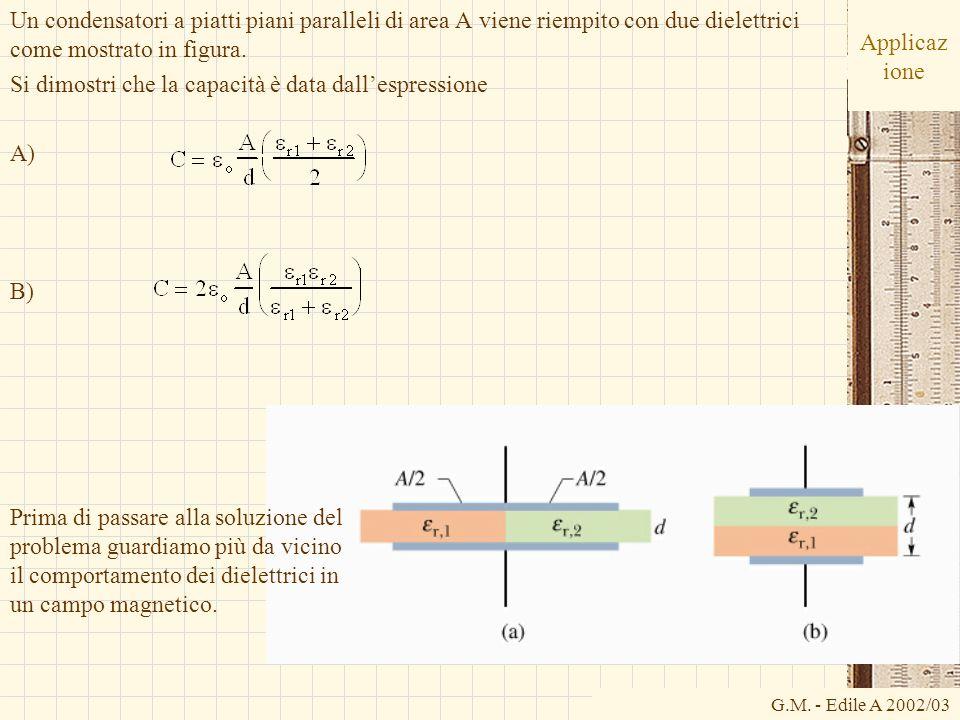 G.M. - Edile A 2002/03 Applicaz ione Un condensatori a piatti piani paralleli di area A viene riempito con due dielettrici come mostrato in figura. Si
