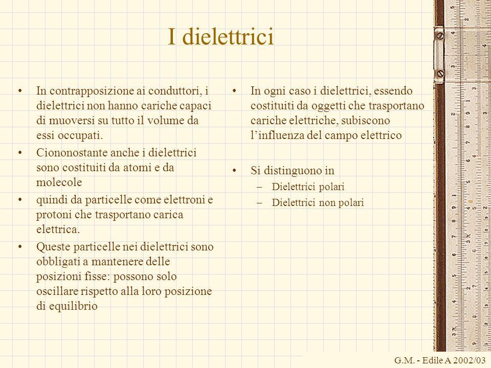 G.M. - Edile A 2002/03 I dielettrici In contrapposizione ai conduttori, i dielettrici non hanno cariche capaci di muoversi su tutto il volume da essi