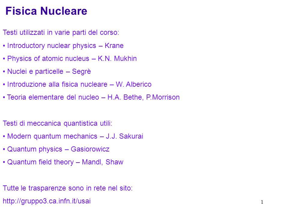 1 Fisica Nucleare Testi utilizzati in varie parti del corso: Introductory nuclear physics – Krane Physics of atomic nucleus – K.N.