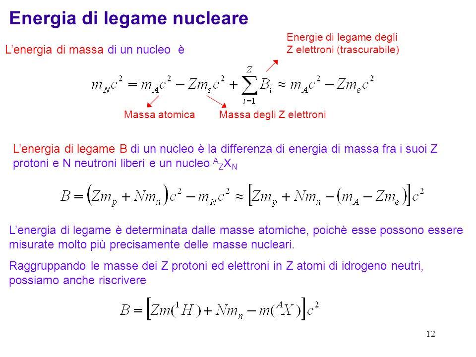 11 Masse nucleari: unità di misura La massa di riferimento non è il protone o latomo di idrogeno, bensì lisotopo 12 C. Il carbonio e molti dei suoi co