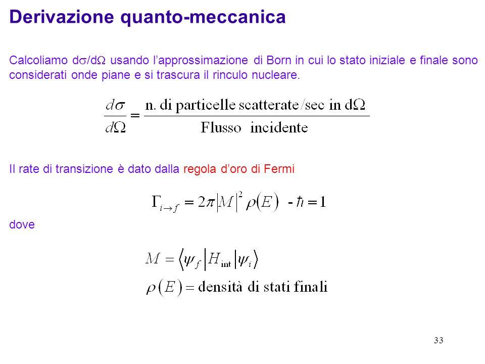 32 Ricavabile sia classicamente che con la meccanica quantistica con le ipotesi: il rinculo del nucleo trascurato gli effetti di spin trascurati centr