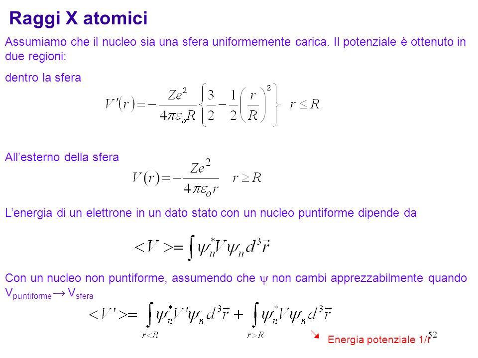 51 Raggio quadratico medio Il fattore di forma può essere espanso in potenze di q Definendo il raggio quadratico medio come La misura sperimentale di