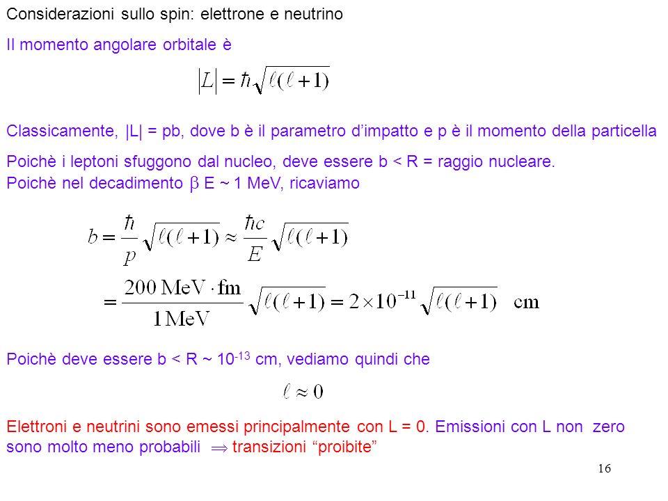 16 Considerazioni sullo spin: elettrone e neutrino Il momento angolare orbitale è Classicamente, |L| = pb, dove b è il parametro dimpatto e p è il mom