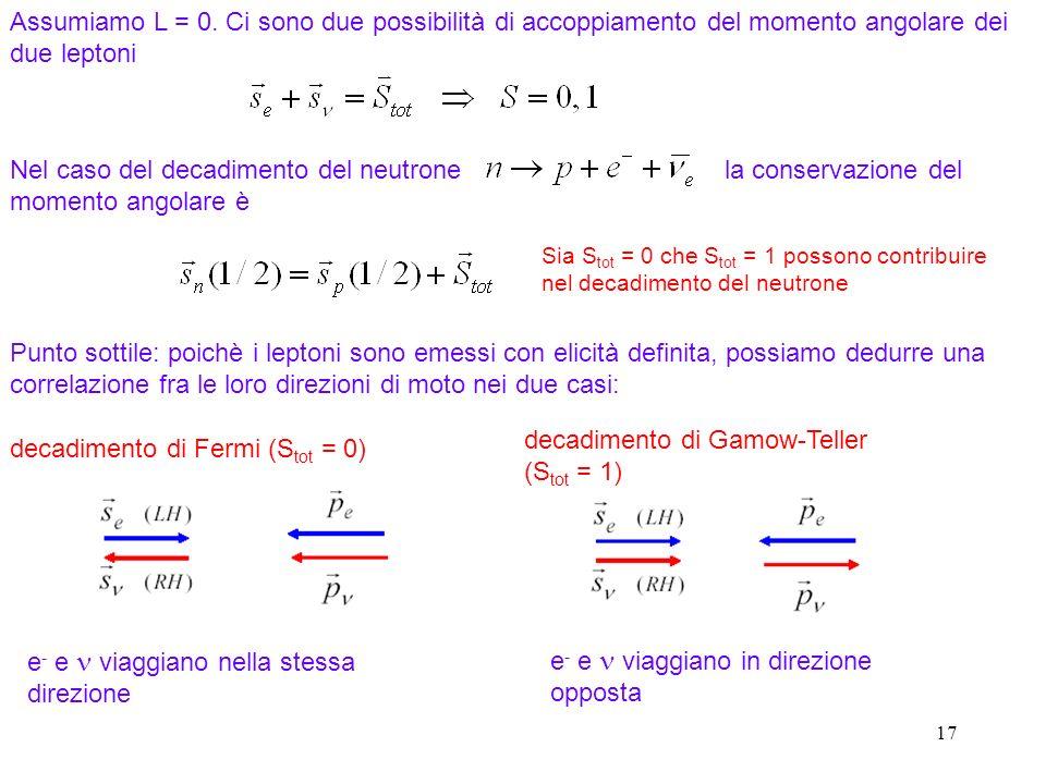 17 Assumiamo L = 0. Ci sono due possibilità di accoppiamento del momento angolare dei due leptoni Nel caso del decadimento del neutrone la conservazio