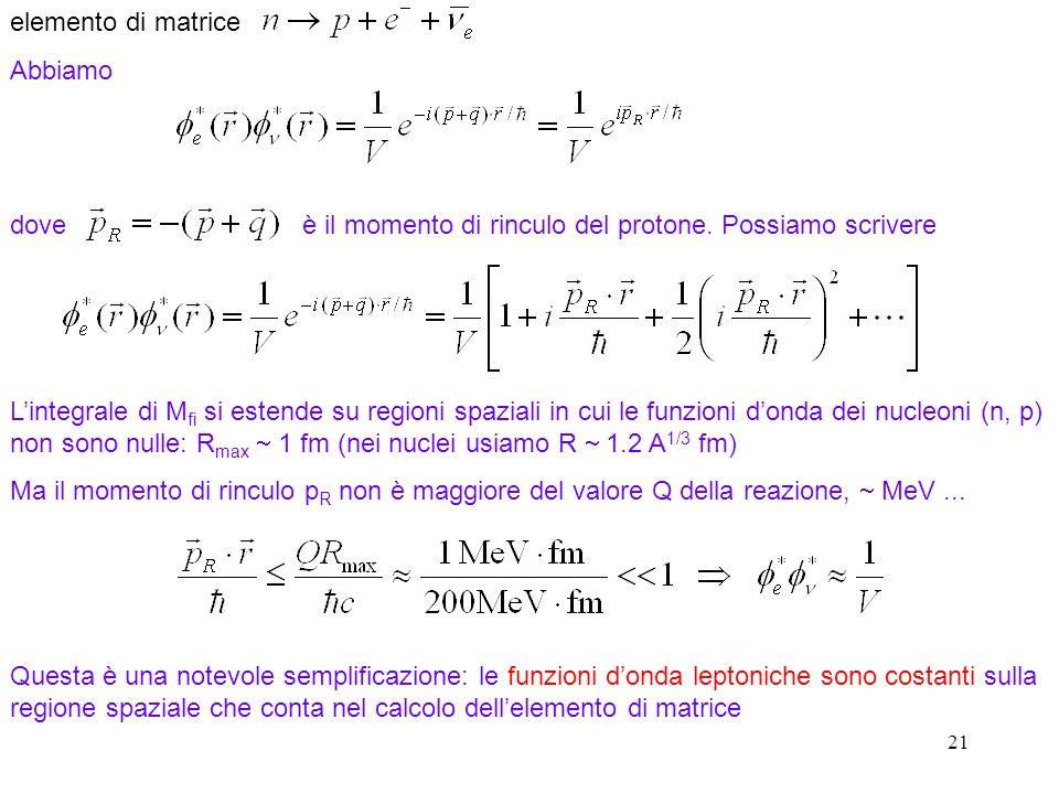 21 elemento di matrice Abbiamo dove è il momento di rinculo del protone. Possiamo scrivere Lintegrale di M fi si estende su regioni spaziali in cui le