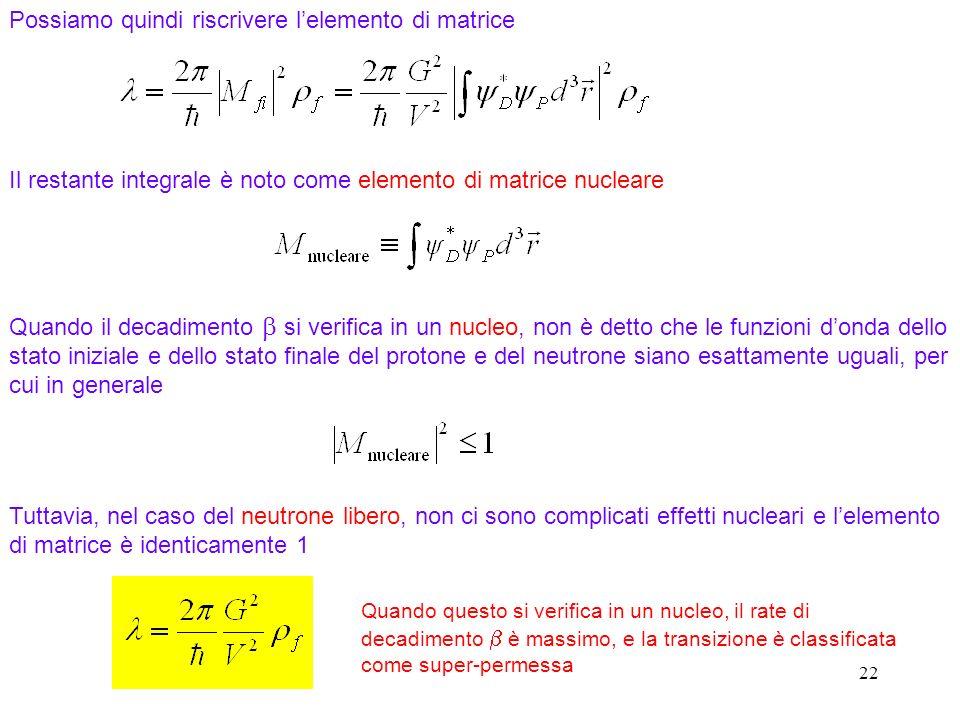 22 Possiamo quindi riscrivere lelemento di matrice Il restante integrale è noto come elemento di matrice nucleare Quando il decadimento si verifica in un nucleo, non è detto che le funzioni donda dello stato iniziale e dello stato finale del protone e del neutrone siano esattamente uguali, per cui in generale Tuttavia, nel caso del neutrone libero, non ci sono complicati effetti nucleari e lelemento di matrice è identicamente 1 Quando questo si verifica in un nucleo, il rate di decadimento è massimo, e la transizione è classificata come super-permessa