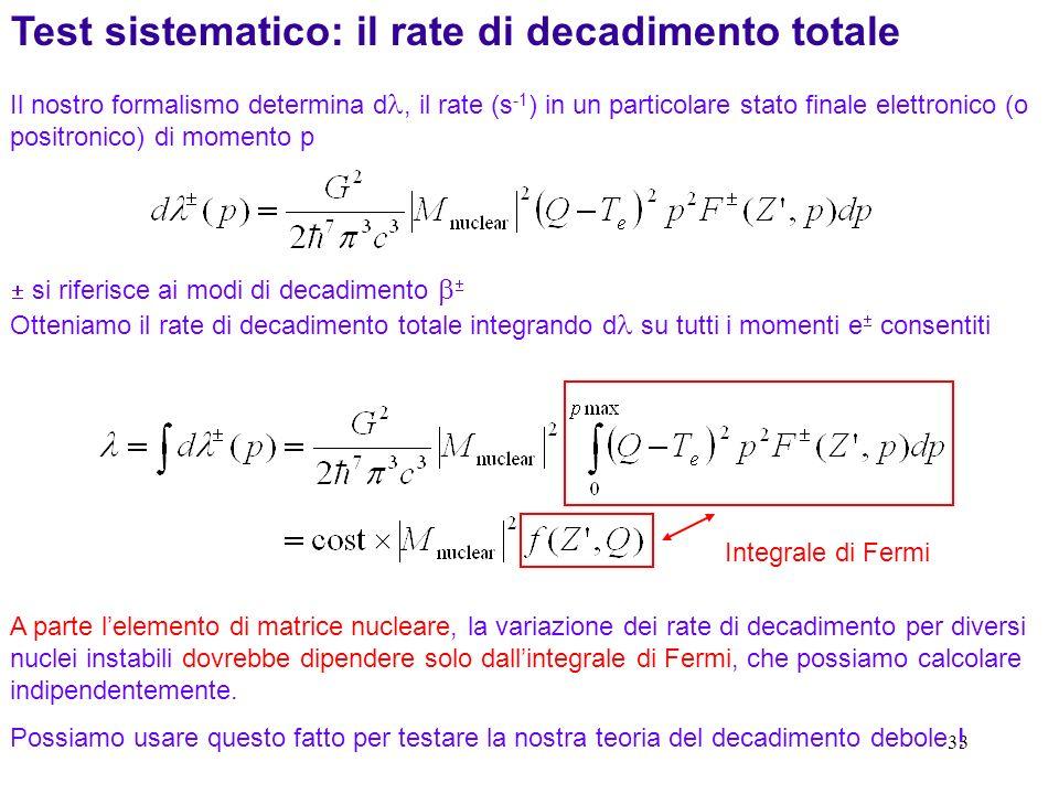 33 A parte lelemento di matrice nucleare, la variazione dei rate di decadimento per diversi nuclei instabili dovrebbe dipendere solo dallintegrale di