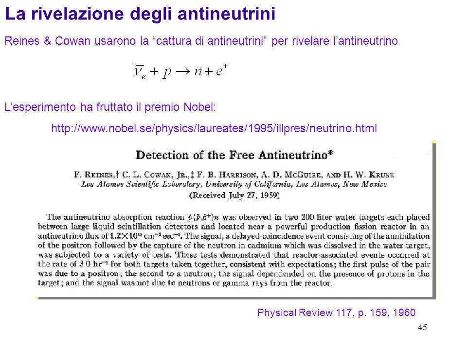45 La rivelazione degli antineutrini Reines & Cowan usarono la cattura di antineutrini per rivelare lantineutrino Lesperimento ha fruttato il premio Nobel: http://www.nobel.se/physics/laureates/1995/illpres/neutrino.html Physical Review 117, p.