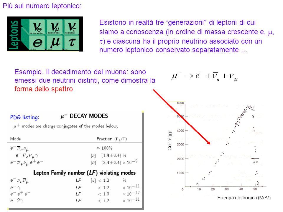 51 Più sul numero leptonico: Esistono in realtà tre generazioni di leptoni di cui siamo a conoscenza (in ordine di massa crescente e,, ) e ciascuna ha il proprio neutrino associato con un numero leptonico conservato separatamente...