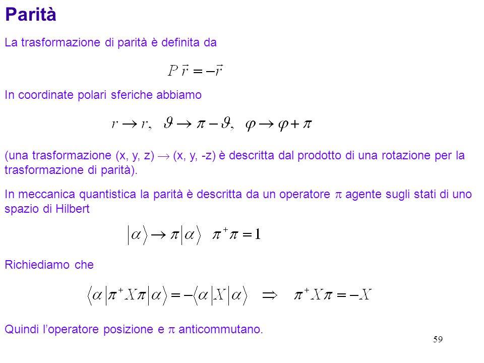 59 (una trasformazione (x, y, z) (x, y, -z) è descritta dal prodotto di una rotazione per la trasformazione di parità).