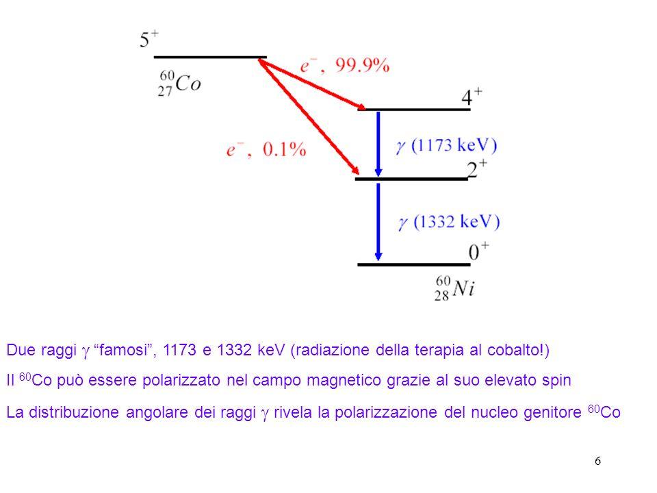 6 Due raggi famosi, 1173 e 1332 keV (radiazione della terapia al cobalto!) Il 60 Co può essere polarizzato nel campo magnetico grazie al suo elevato spin La distribuzione angolare dei raggi rivela la polarizzazione del nucleo genitore 60 Co