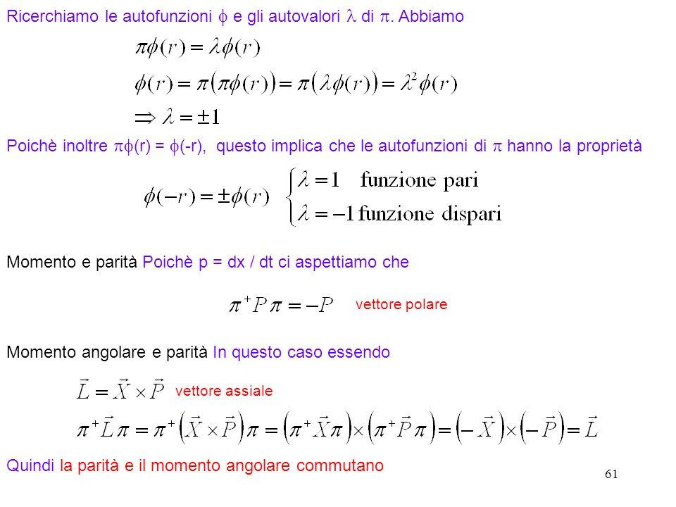 61 Poichè inoltre (r) = (-r), questo implica che le autofunzioni di hanno la proprietà Ricerchiamo le autofunzioni e gli autovalori di.