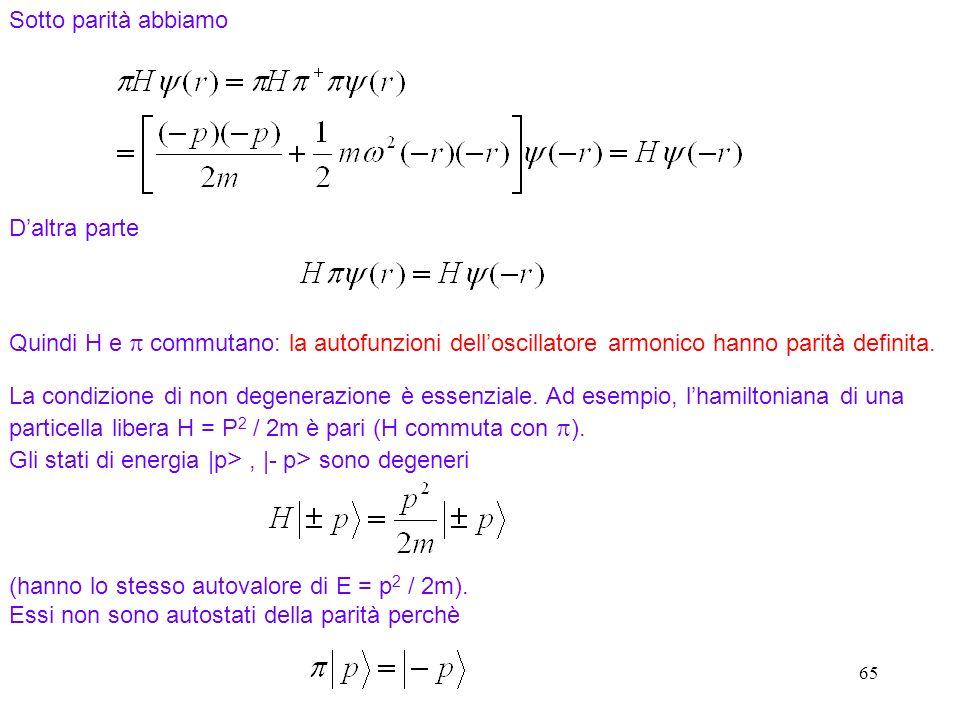 65 Sotto parità abbiamo Quindi H e commutano: la autofunzioni delloscillatore armonico hanno parità definita. Daltra parte La condizione di non degene