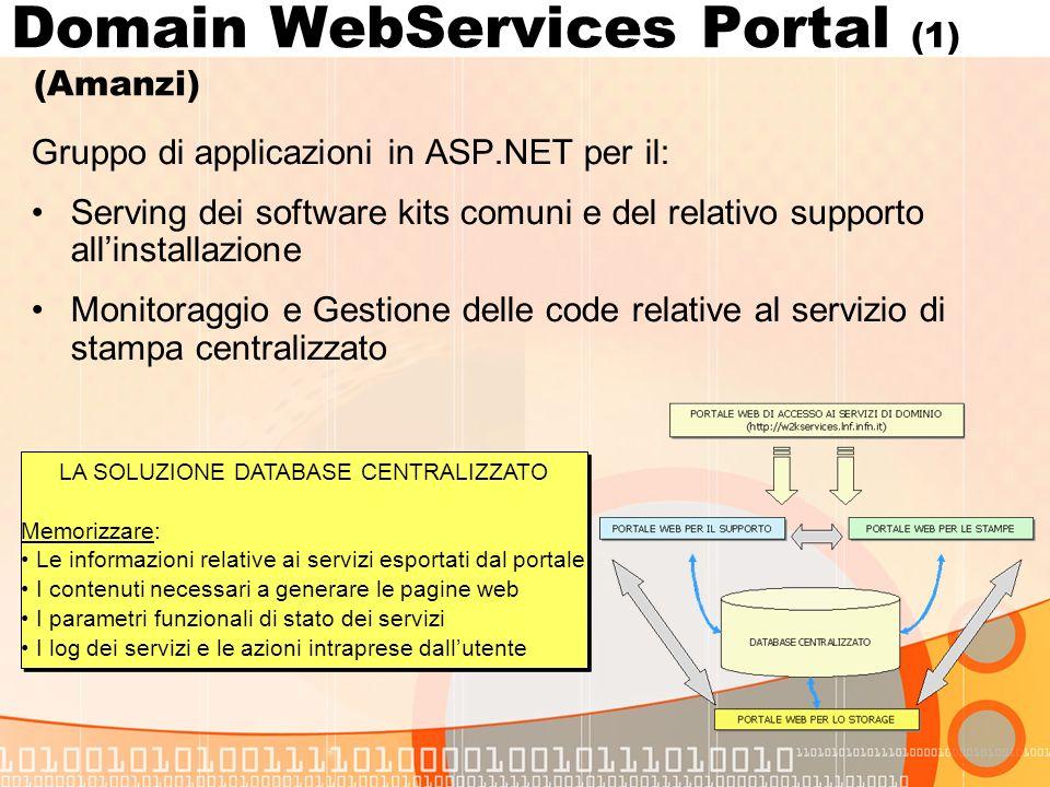 Domain WebServices Portal (1) (Amanzi) Gruppo di applicazioni in ASP.NET per il: Serving dei software kits comuni e del relativo supporto allinstallazione Monitoraggio e Gestione delle code relative al servizio di stampa centralizzato LA SOLUZIONE DATABASE CENTRALIZZATO Memorizzare: Le informazioni relative ai servizi esportati dal portale I contenuti necessari a generare le pagine web I parametri funzionali di stato dei servizi I log dei servizi e le azioni intraprese dallutente LA SOLUZIONE DATABASE CENTRALIZZATO Memorizzare: Le informazioni relative ai servizi esportati dal portale I contenuti necessari a generare le pagine web I parametri funzionali di stato dei servizi I log dei servizi e le azioni intraprese dallutente