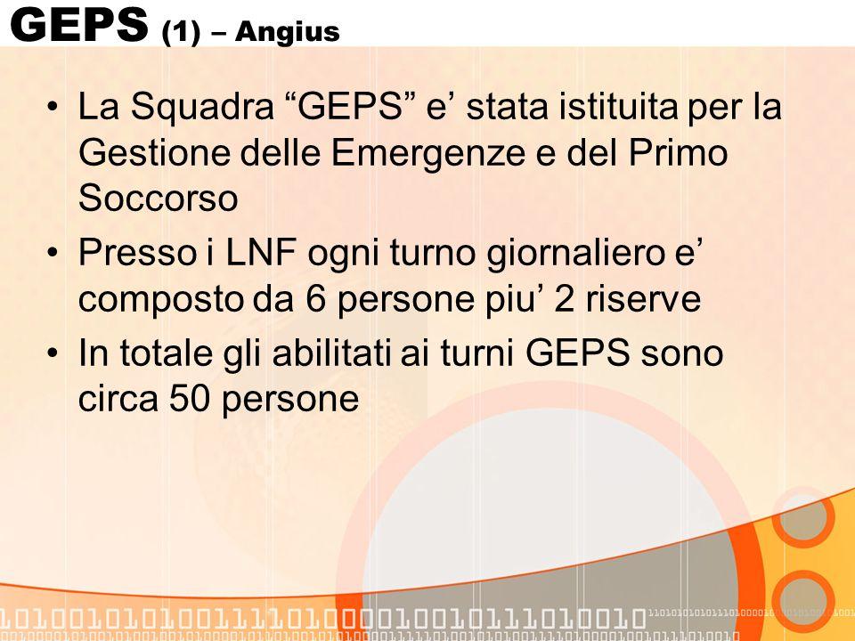 GEPS (1) – Angius La Squadra GEPS e stata istituita per la Gestione delle Emergenze e del Primo Soccorso Presso i LNF ogni turno giornaliero e composto da 6 persone piu 2 riserve In totale gli abilitati ai turni GEPS sono circa 50 persone