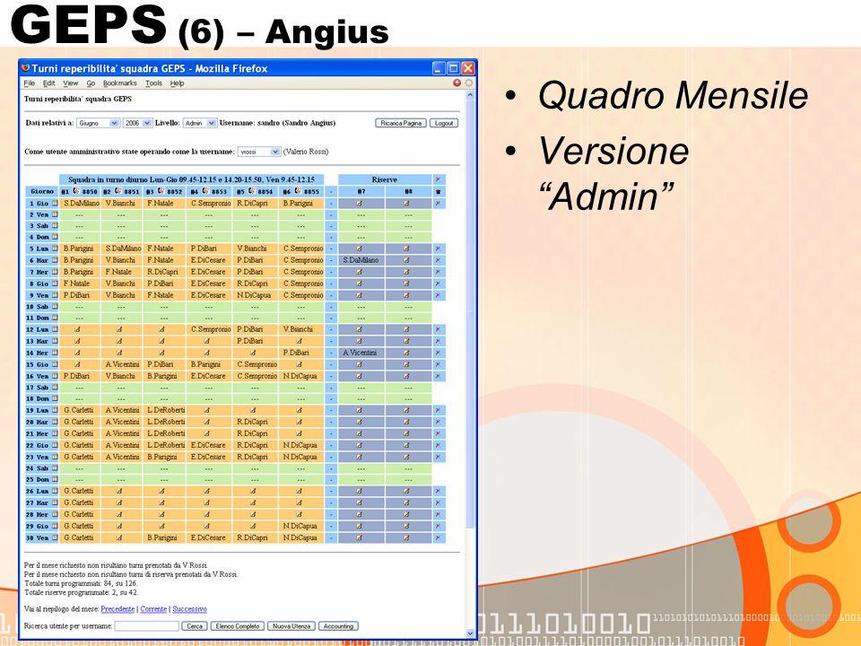 Quadro Mensile Versione Admin