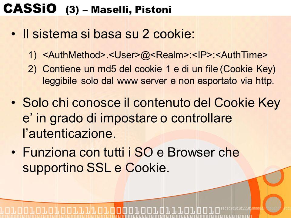 CASSiO (3) – Maselli, Pistoni Il sistema si basa su 2 cookie: 1).