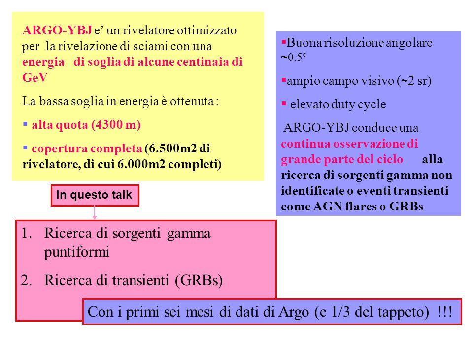 ARGO-YBJ e un rivelatore ottimizzato per la rivelazione di sciami con una energia di soglia di alcune centinaia di GeV La bassa soglia in energia è ot