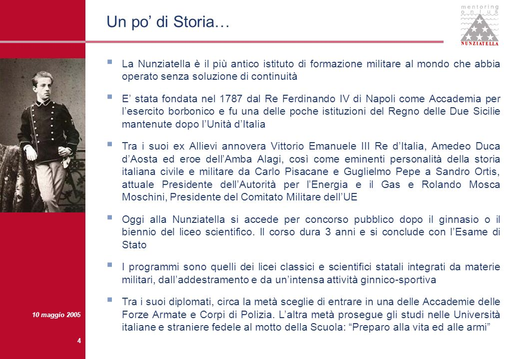 10 maggio 2005 3 La Nunziatella e i suoi ex Allievi